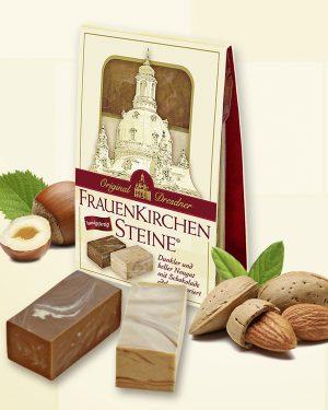 Ein heller und ein dunkler Dresdner Frauenkirchenstein als attraktives Mini-Präsent. Perfekt als kleine Aufmerksamkeit für jeden Anlass!